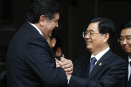 China's President Hu Jintao with Peru's President Alan Garcia (Reuters)