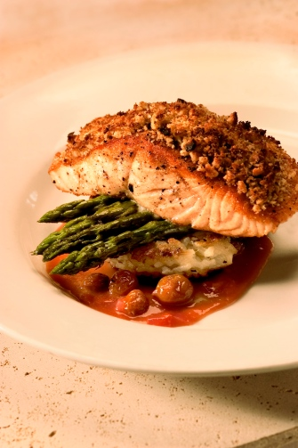 Macadamia Crusted Salmon Filet with Pisco-Based Sauce by Taranta Restaurant (Boston, MA)